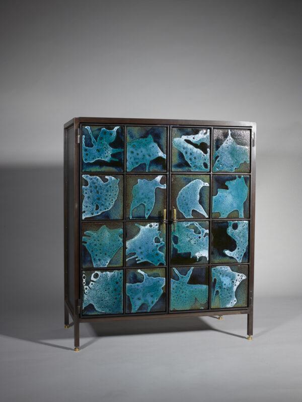 Meuble acier céramique bleue